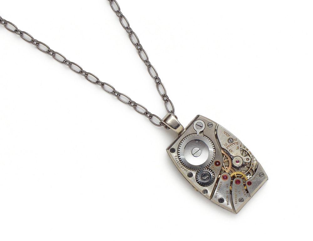 Steampunk necklace watch movement gears wittnauer silver watch works steampunk necklace watch movement gears wittnauer silver watch works pendant unisex mens womens jewelry aloadofball Gallery