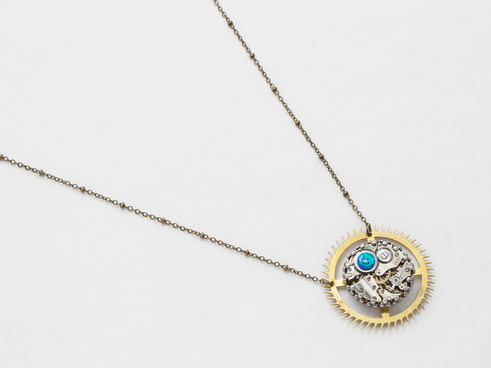 Steampunk Necklace watch movement gold clock gear with blue opal pendant silver filigree Statement Necklace Steampunk Jewelry