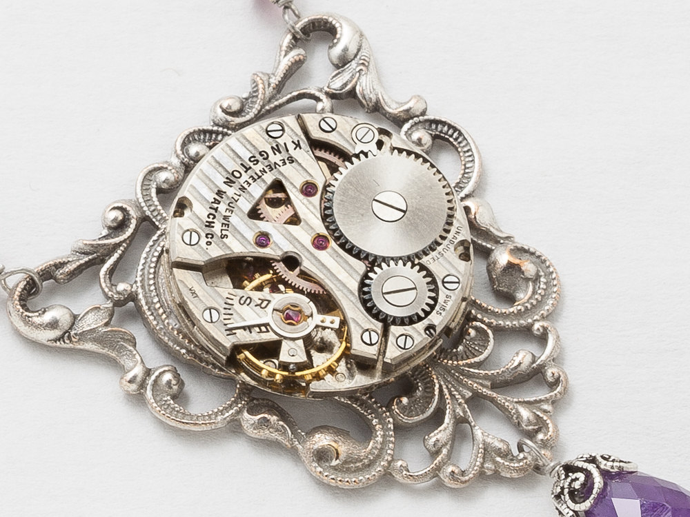 Steampunk Necklace Watch Movement on Victorian Filigree Pendant with Genuine Amethyst Purple Swarovski Crystal Silver Dragonfly