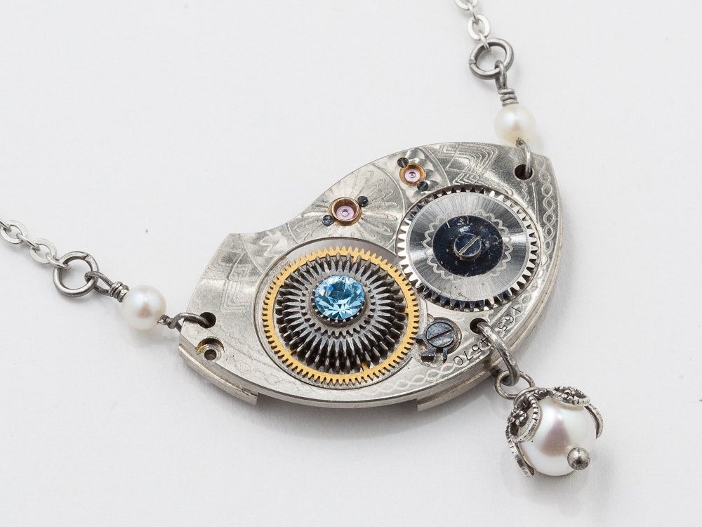 Silver Filigree Butterfly Watchworks Crystal Necklace