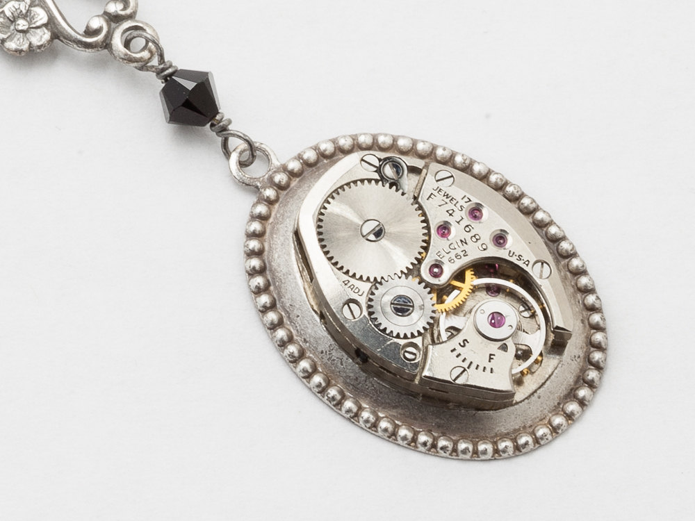 Steampunk black crystal watch movement pendant with flowers steampunk necklace watch movement silver flower bird black crystal pendant statement necklace steampunk jewelry audiocablefo