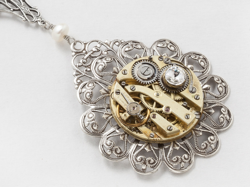 Steampunk Necklace with Antique Gold Pocket Watch on Filigree Flower with Genuine Pearl Silver Dragonfly Pendant Swarovski Crystal