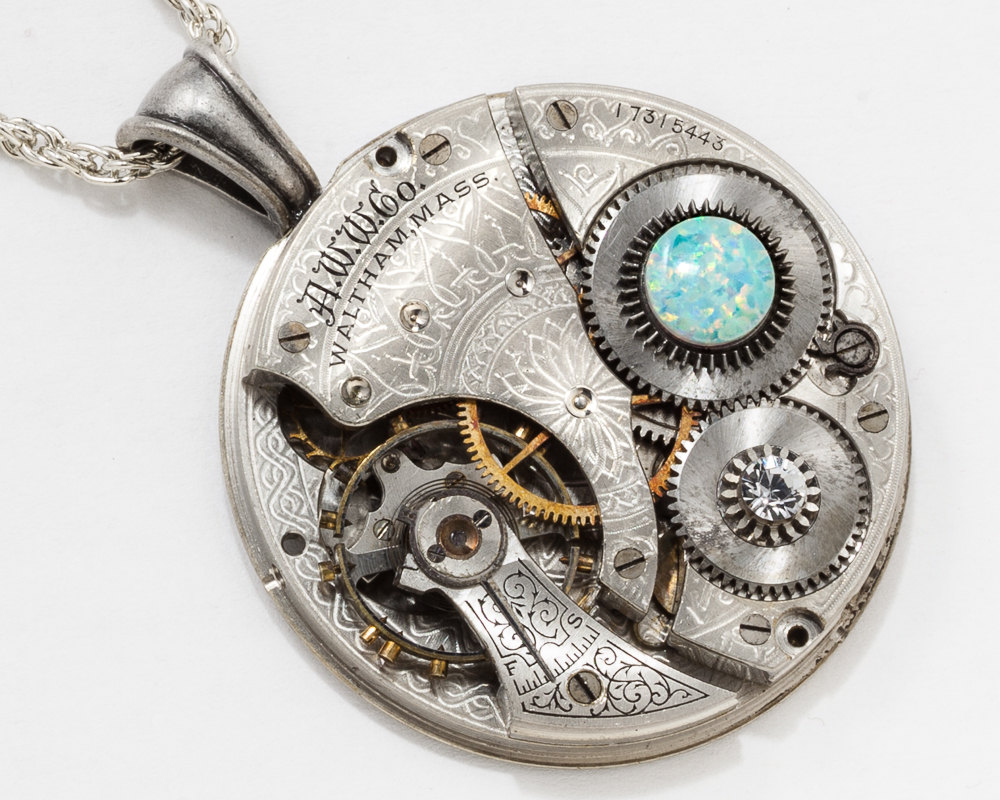 Steampunk Necklace with Waltham Pocket Watch Movement Flower Engraving on Silver Rope Chain Crystal Opal Gemstone