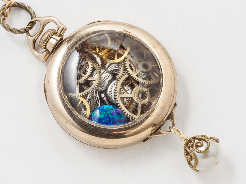 Steampunk Pocket Watch Case Necklace 14k Gold Filled Victorian Pendant with Gears Opal Silver Bumble Bee and Filigree Pearl