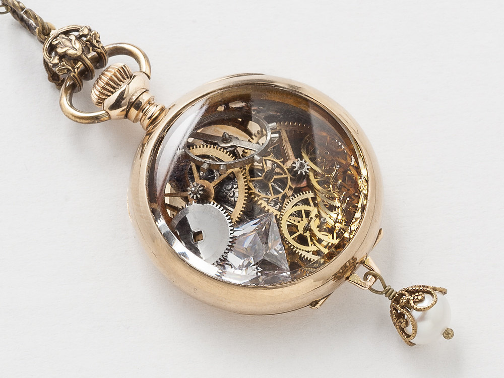 Steampunk pocket watch  Steampunk pocket watch case necklace 14k gold filled Victorian ...