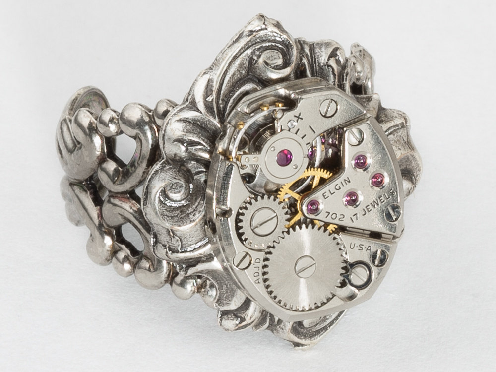 Steampunk Ring Elgin watch movement gears filigree ring adjustable ring Silver Statement ring Cocktail ring Steampunk jewelry