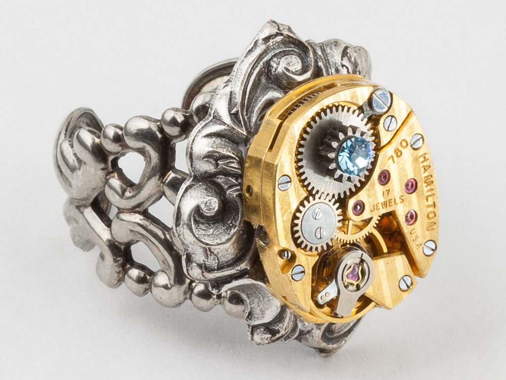 Steampunk Ring gold Hamilton watch movement blue crystal Statement Ring adjustable silver filigree Cocktail Ring Steampunk jewelry