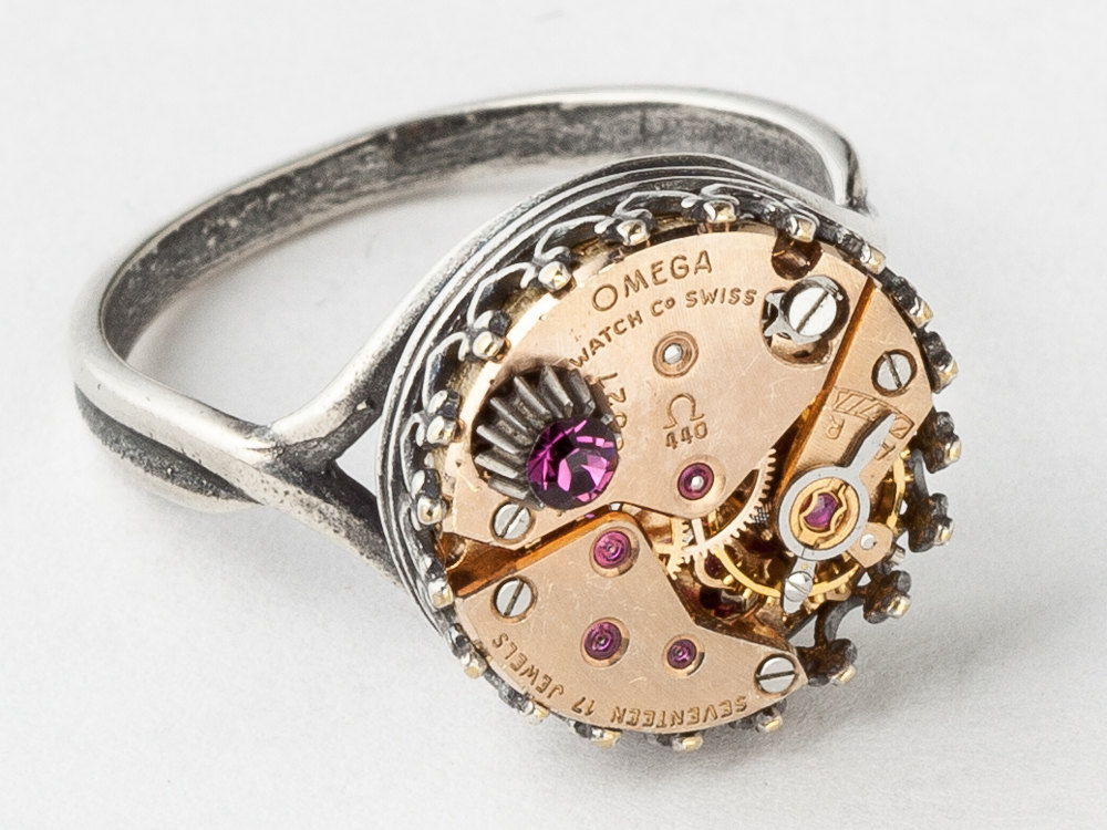 Steampunk Ring Rare rose gold Omega watch movement purple crystal Statement Ring silver filigree Cocktail Ring jewelry