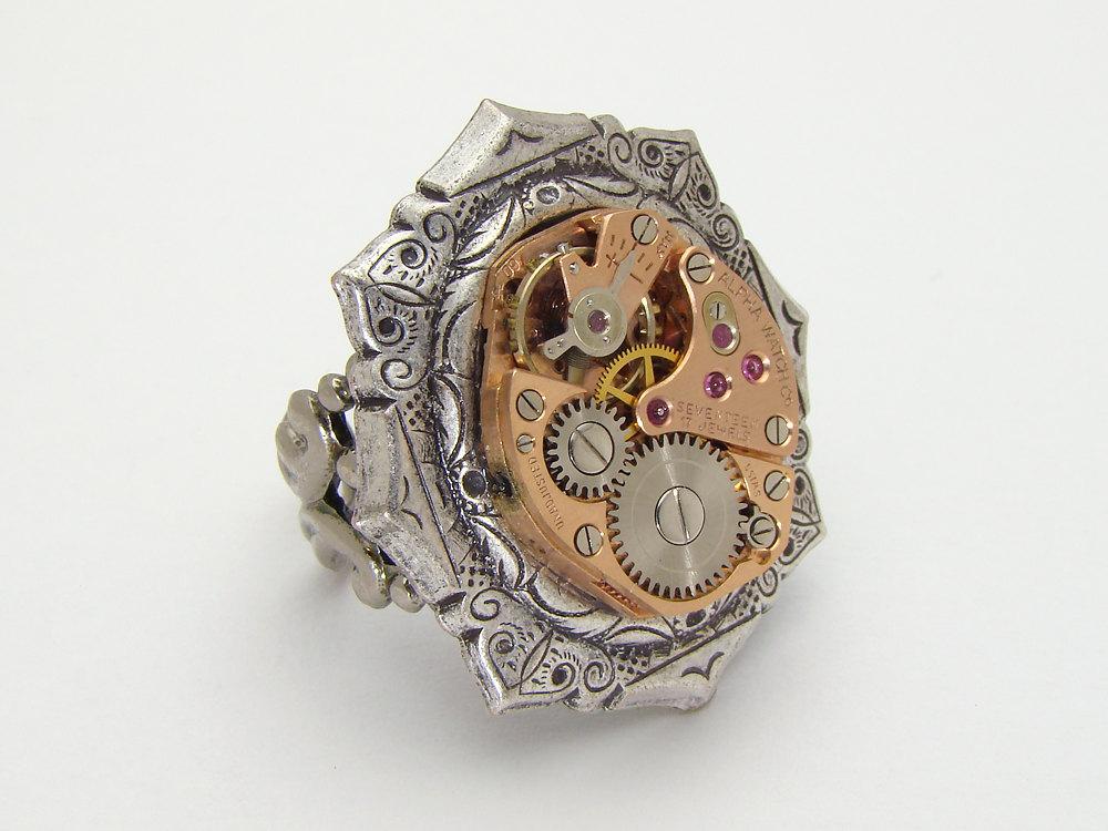 Steampunk Ring rose gold watch movement gears silver brass bezel
