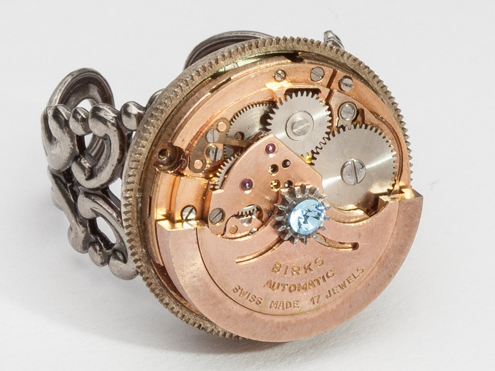 Steampunk Ring rose gold watch movement moving gears blue crystal