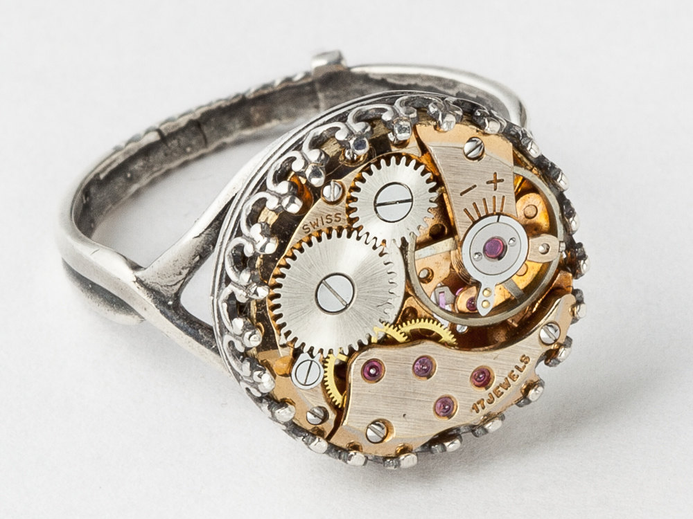 Steampunk Ring rose gold watch movement prong set clockwork Statement Ring silver filigree Cocktail Ring womens jewelry