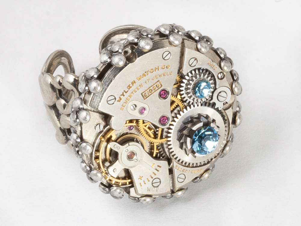 Steampunk Ring watch movement blue crystal silver filigree adjustable ring cocktail ring Statement Ring by Steampunk jewelry