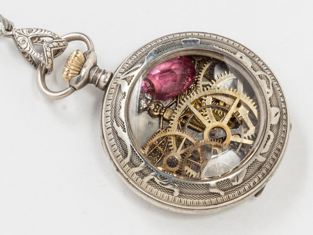 Sterling Silver Pocket Watch Case Necklace Engraved Flowers and Leaves with Gold Dragonfly Gears Pink Tourmaline Locket