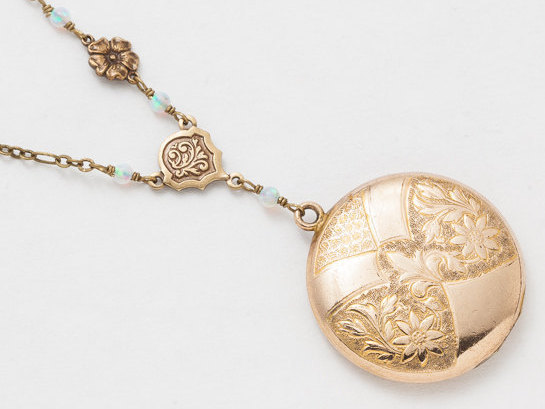 Victorian Gold Locket Antique Locket Necklace in Gold Filled with Leaf Flower Engraving Opal and Flower Charm Round Photo Locket