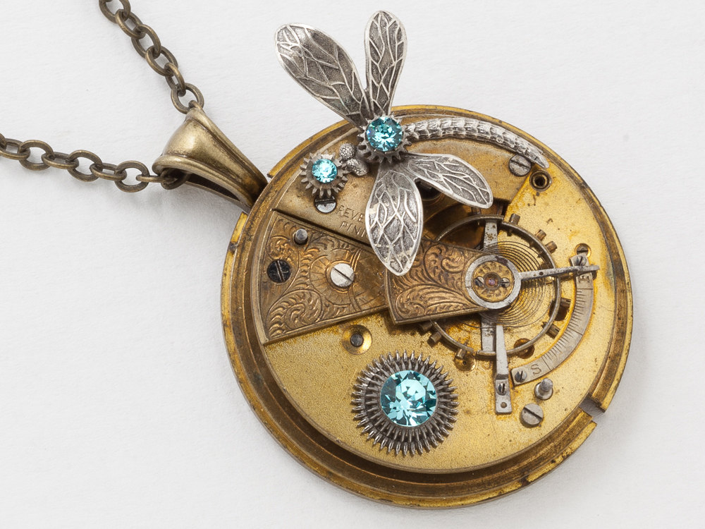 Victorian Gold Pocket Watch Necklace with Leaf Engraving Blue Topaz Crystal Gears and Silver Dragonfly Pendant Steampunk Jewelry