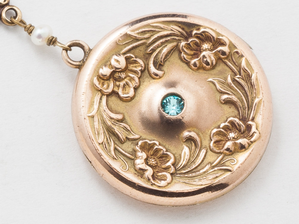 Victorian Locket Antique Locket Necklace in Gold Filled with Genuine Pearls Blue Aquamarine Repousse Flower Leaf Photo Locket
