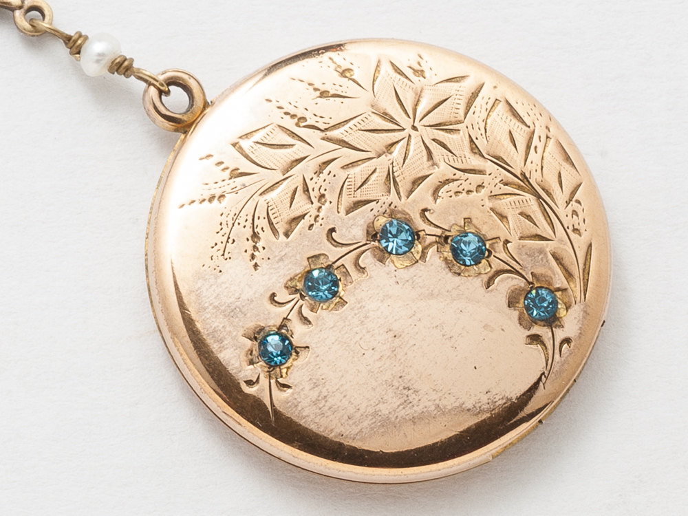 Victorian Locket Antique Locket Necklace in Gold Filled with Opal Beads Blue Crystal Dragonfly Flower Leaf Etched Photo Locket