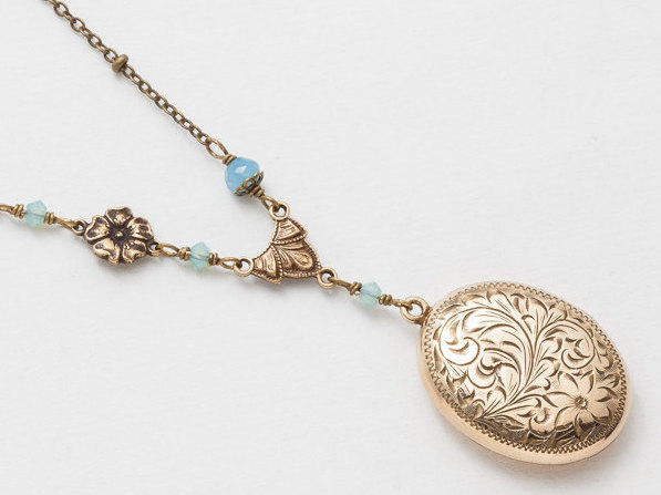 Victorian Locket Locket Necklace Gold Filled Locket with Chalcedony Blue Crystal Flower Charm Leaf and Flower Etched