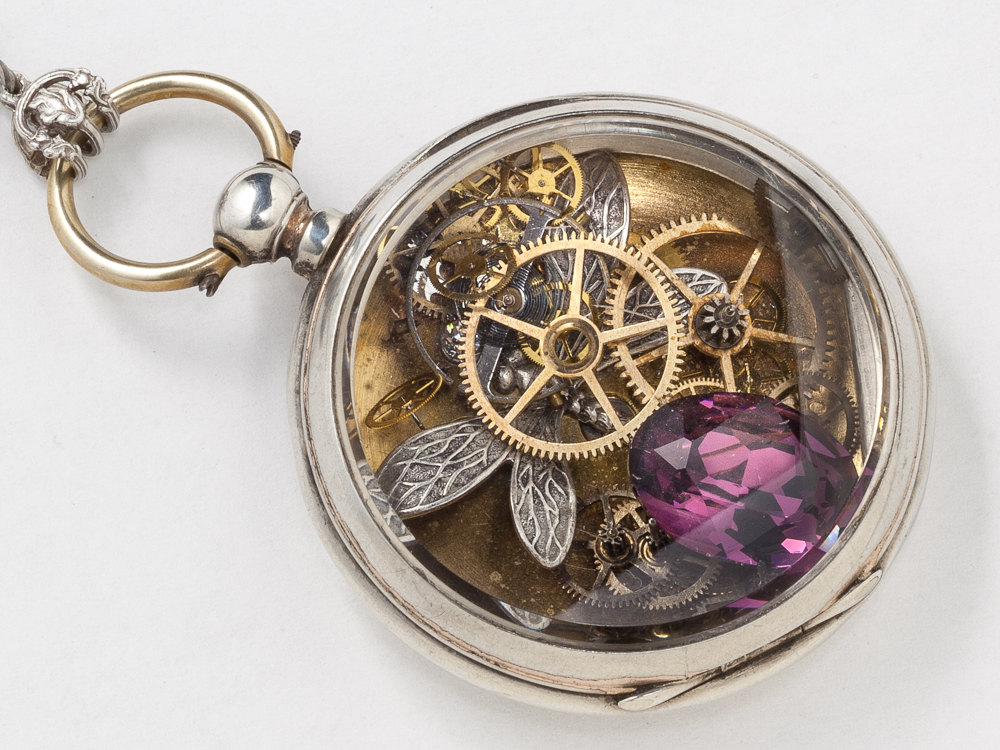 Victorian locket pocket watch case necklace in sterling silver with victorian locket pocket watch case necklace in sterling silver with dragonfly pendant gears and amethyst statement necklace aloadofball Image collections