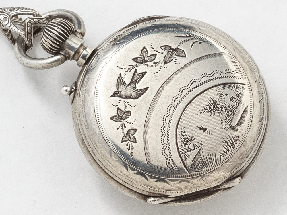 Victorian locket pocket watch case necklace in sterling silver with victorian locket pocket watch case necklace in sterling silver with pink tourmaline gears owl pendant statement aloadofball Image collections