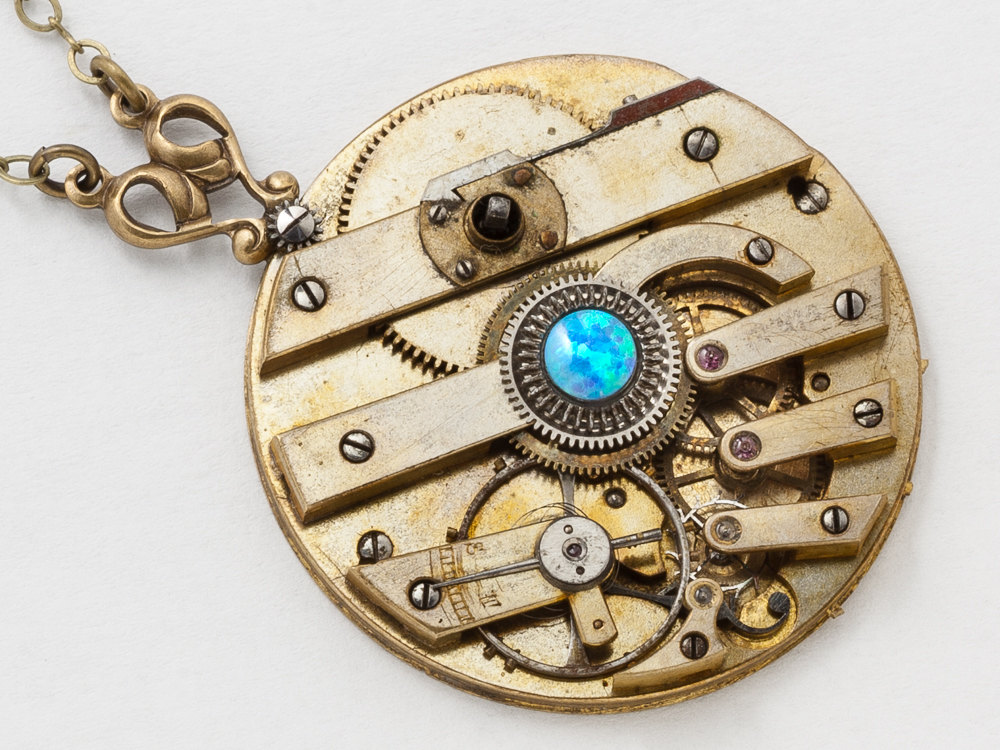 Victorian Necklace Antique Key Wind Pocket Watch Movement with Opal and Gold Filigree Clockwork Statement Necklace Steampunk jewelry