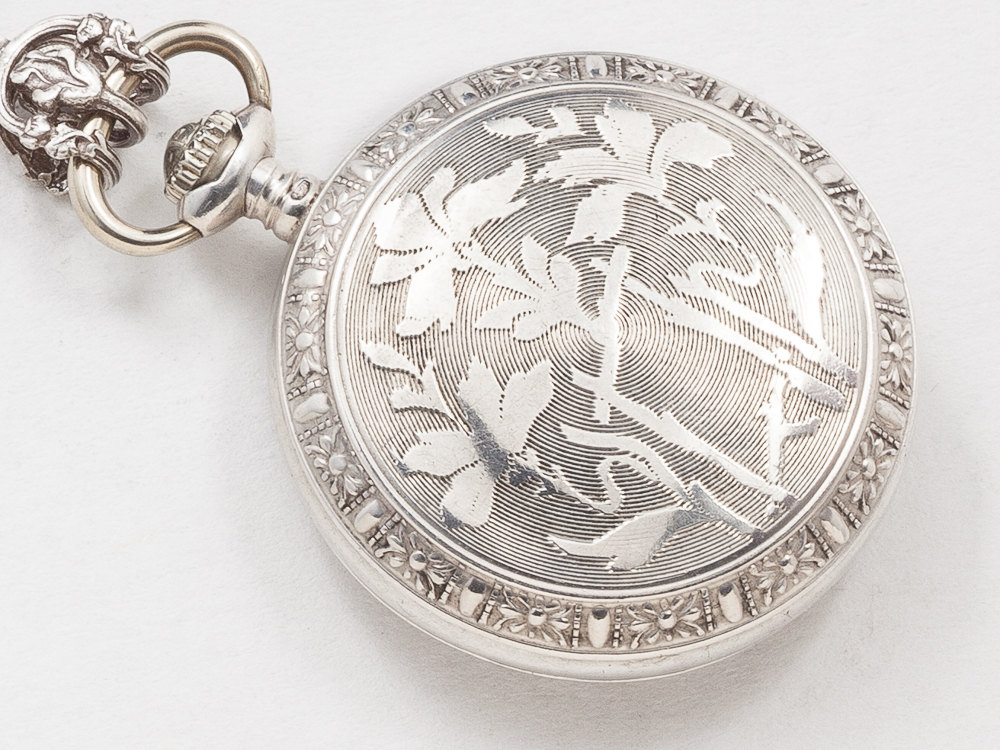 Victorian Pocket Watch Case Necklace in Sterling Silver with Engraved Flowers and Leaves Heart Charm Gears Blue Topaz Locket