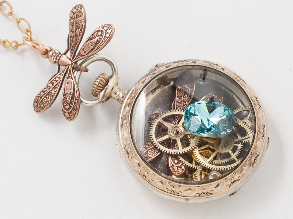Victorian Rose Gold Sterling Silver Pocket Watch Case Necklace with Blue Topaz Crystal Gears and Dragonfly Locket Steampunk jewelry