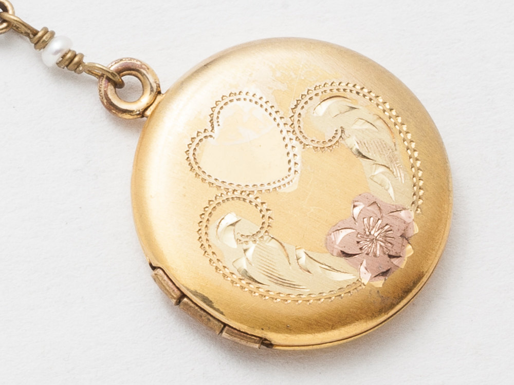 Vintage Gold Locket Necklace with Green and Rose Gold Filled Flower Etched Genuine Pearls Flower Charm Photo Locket Jewelry