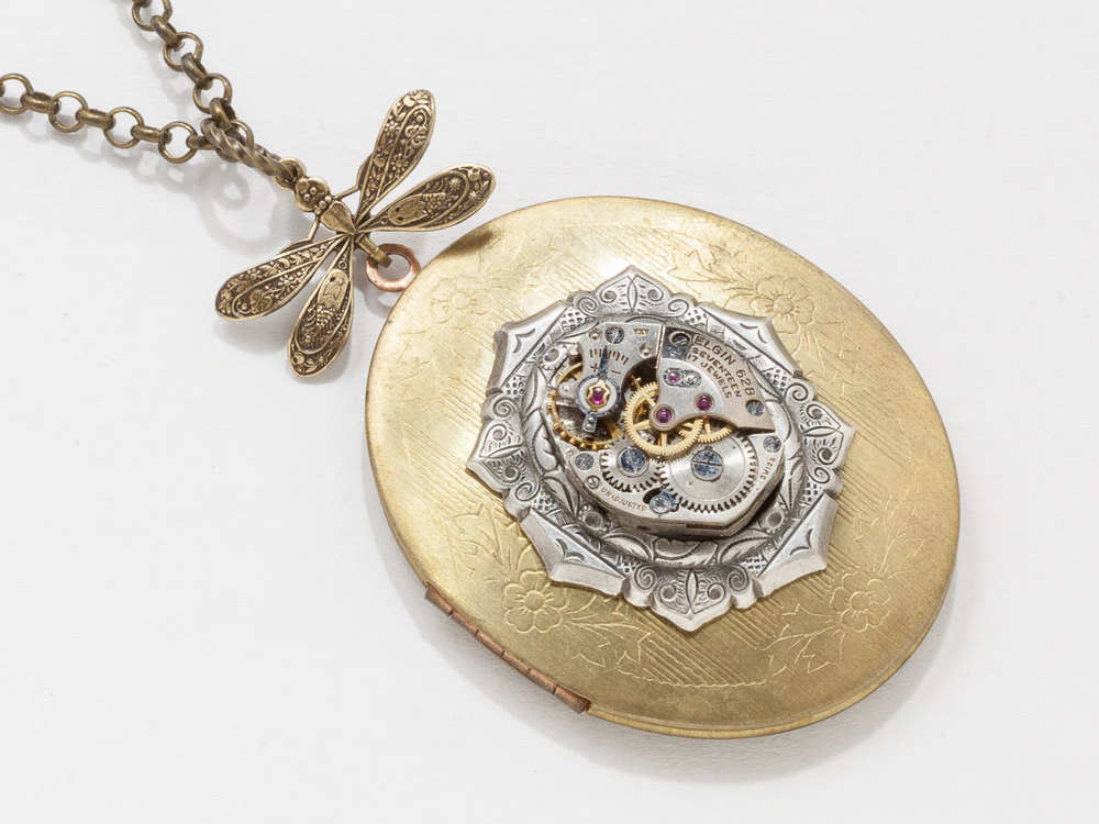 Vintage Gold Locket Steampunk Necklace with Dragonfly and watch movement on silver Victorian Bezel Statement Necklace Locket