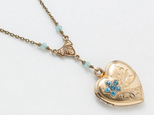 Vintage Heart Locket Gold Filled Locket Heart Locket Necklace with Blue Topaz Leaf Engraving Blue Opal Crystal Photo Locket Jewelry