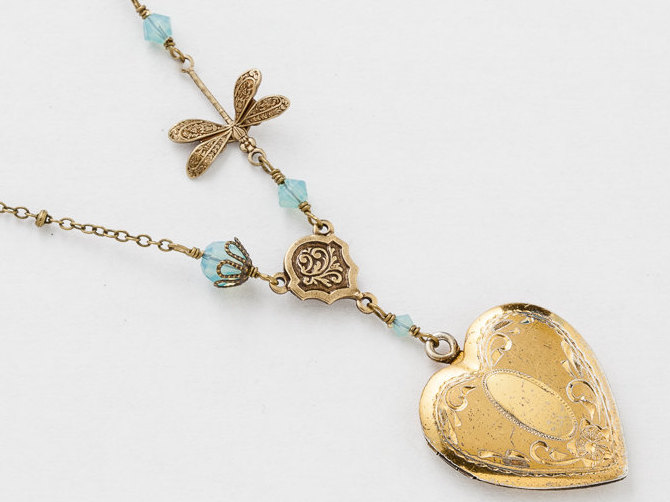 gold vintage pin lockets locket opal karat english and