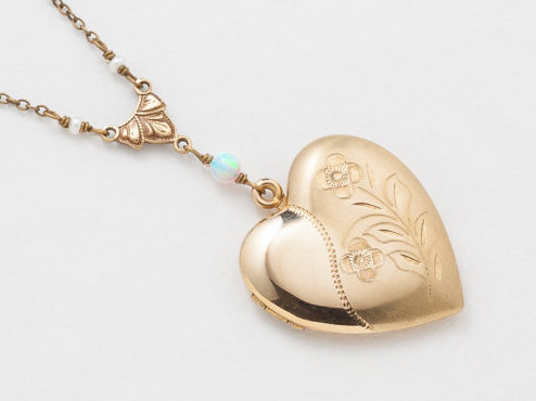Vintage Heart Locket Necklace Heart Locket in Gold Filled with Genuine Pearl Opal Leaf Flower Etched Photo Locket Jewelry