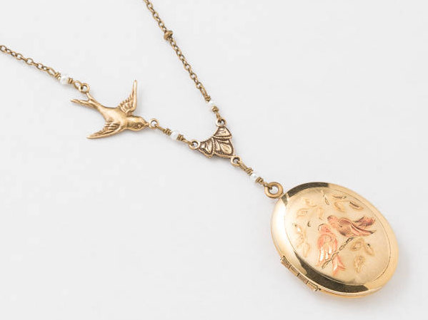 Vintage Locket Necklace Oval Locket in Gold Filled Leaf Love Bird Engraved with Genuine Pearl Bird Charm Brides Wedding Jewelry