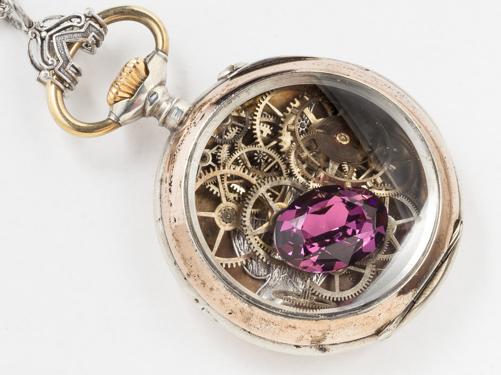 Vintage Locket Pocket Watch Case Necklace in Sterling Silver and