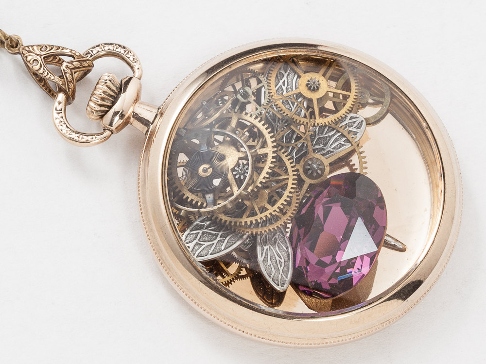 Vintage Pocket Watch Case Necklace in 14k Gold Filled with Leaf Etching Gears Wheels Silver Dragonfly and Amethyst Crystal Locket