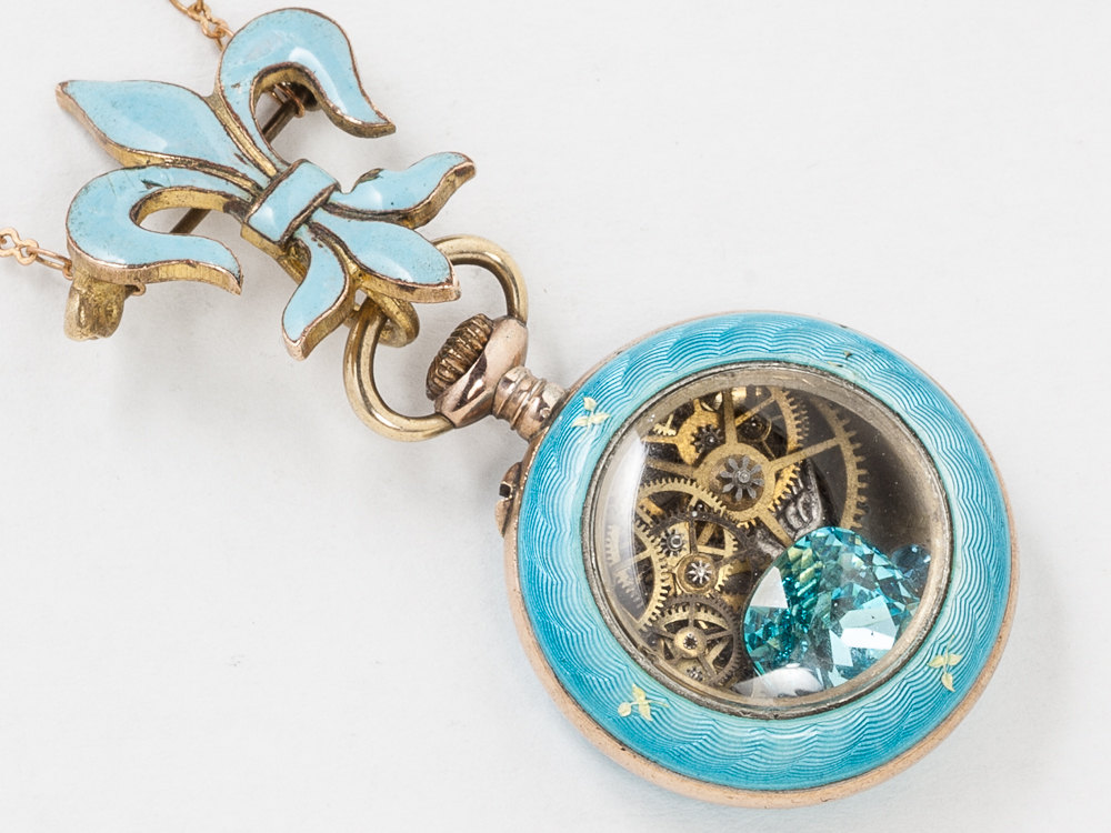 Vintage Rose Gold Pocket Watch Case Necklace Turquoise Enamel and Sterling Silver Vermeil with Gears Fleur De Lis Blue Topaz Locket