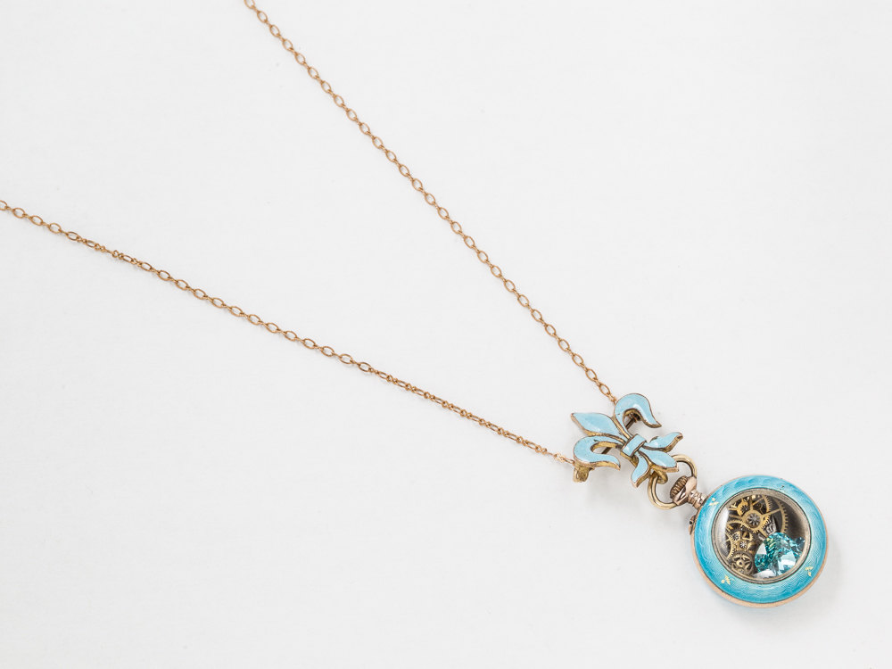 Vintage Rose Gold Pocket Watch Case Necklace Turquoise Enamel and
