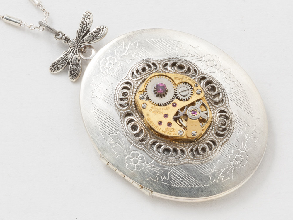 Vintage Silver Locket Steampunk Necklace with Dragonfly and Gold Watch Movement on Victorian filigree Bezel Purple Amethyst