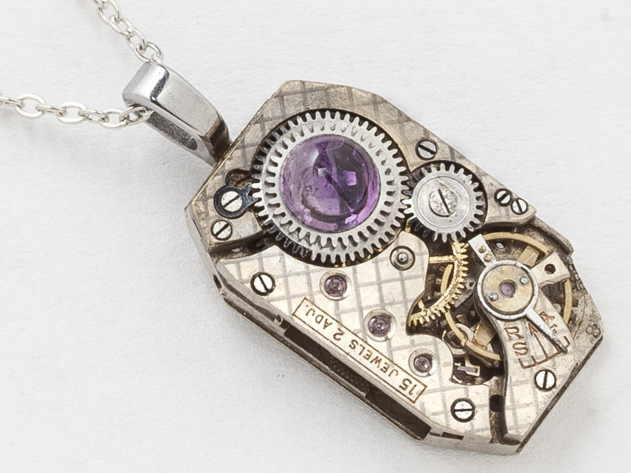 Vintage Watch Necklace With Ruby Jewel Watch Movement Genuine Amethyst Industrial Clockwork Pendant On Silver Chain