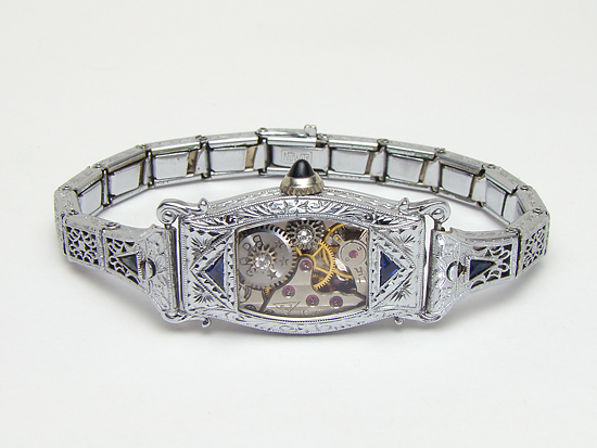 Steampunk Bracelet Art Deco watch movement white gold filled filigree sapphire (1)