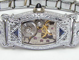 Steampunk Bracelet Art Deco watch movement white gold filled filigree sapphire (6)