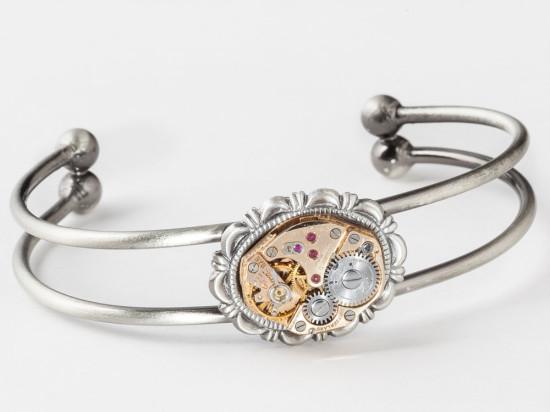 Steampunk Bracelet Cuff Vintage Rose Gold Watch Clockwork Gears