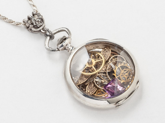 Steampunk Necklace Sterling Silver Pocket Watch Movement