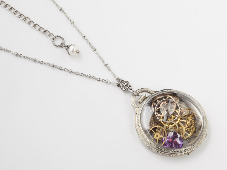 Steampunk Necklace Vintage Watch Movement Case