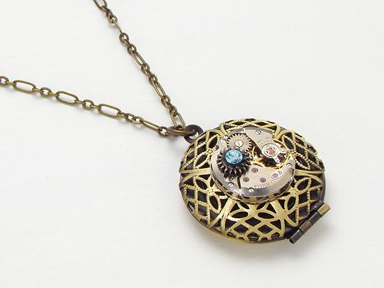 Steampunk locket necklace antique watch movement gears blue Swarovski crystal