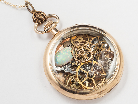 pocket watch case necklace victorian vintage 14k gold filled gears silver butterfly pearl opal (2)