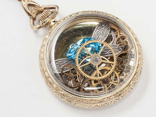 Pocket Watch Case Necklace With Gears And Gemstones