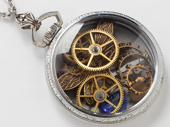Pocket watch case necklace with gears and gemstones steampunk jewelry for Watches gear