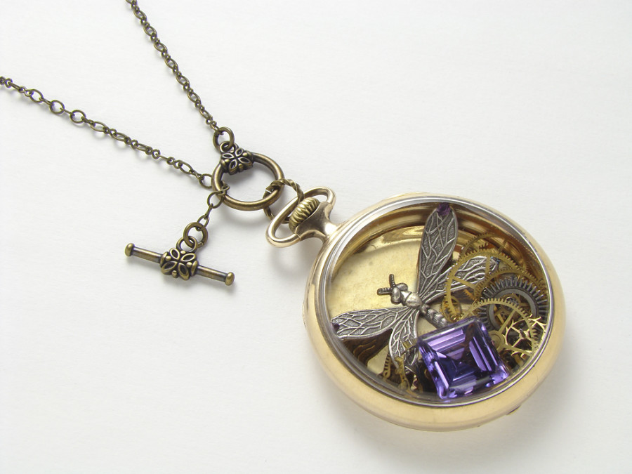 steampunk jewelry dragonfly necklace gold case