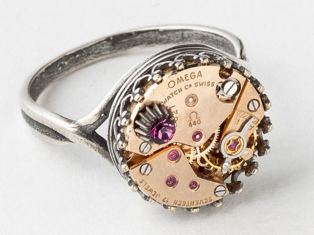 Fabulous Steampunk Ring Rare rose gold Omega watch movement purple crystal  JL14